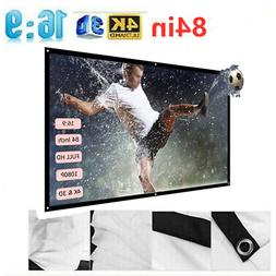 """Foldable 84"""" Projector Screen 16:9 Projection HD White Dacro"""