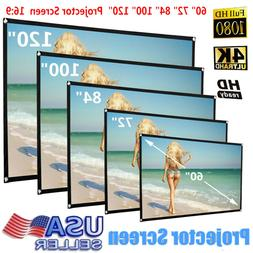 Foldable Polyester Projector Screen 16:9 HD Home Theater Out