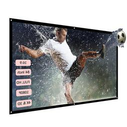 H84 84'' Projector Screen HD 16:9 Dacron Video Projection Sc