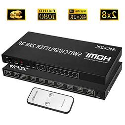 Merkmak HDMI Splitter Full HD 4K Video HDMI Switcher 2x8 Spl