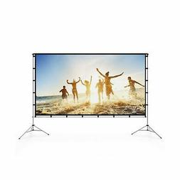 Vamvo Outdoor Indoor Projector Screen with Stand Foldable Po