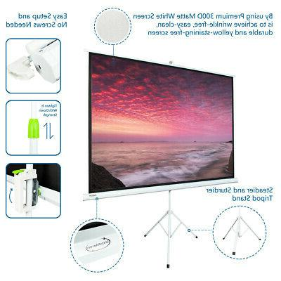 """100"""" 4:3 HD Portable Projector Matte White Foldable Stand"""