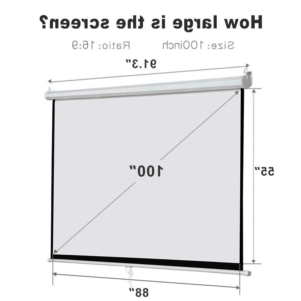 "100"" Diagonal Projector Screen Pull"