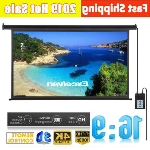 """100"""" Electric Motorized Projector Screen 16:9 Home Theater C"""