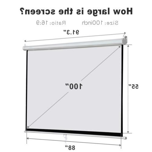 "100"" Home Manual Projection Screen Pull Down"
