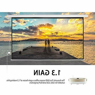 100 Inch Projector Screen Electric Motorized Portable Movie Video Projection