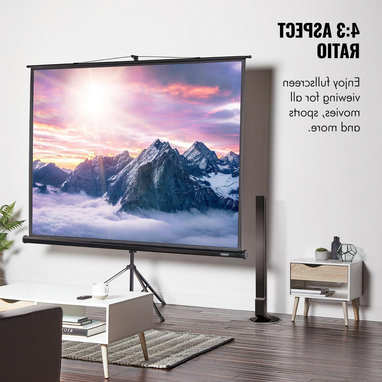 VonHaus 100 Projector Screen with Stand Aspect Ratio HD