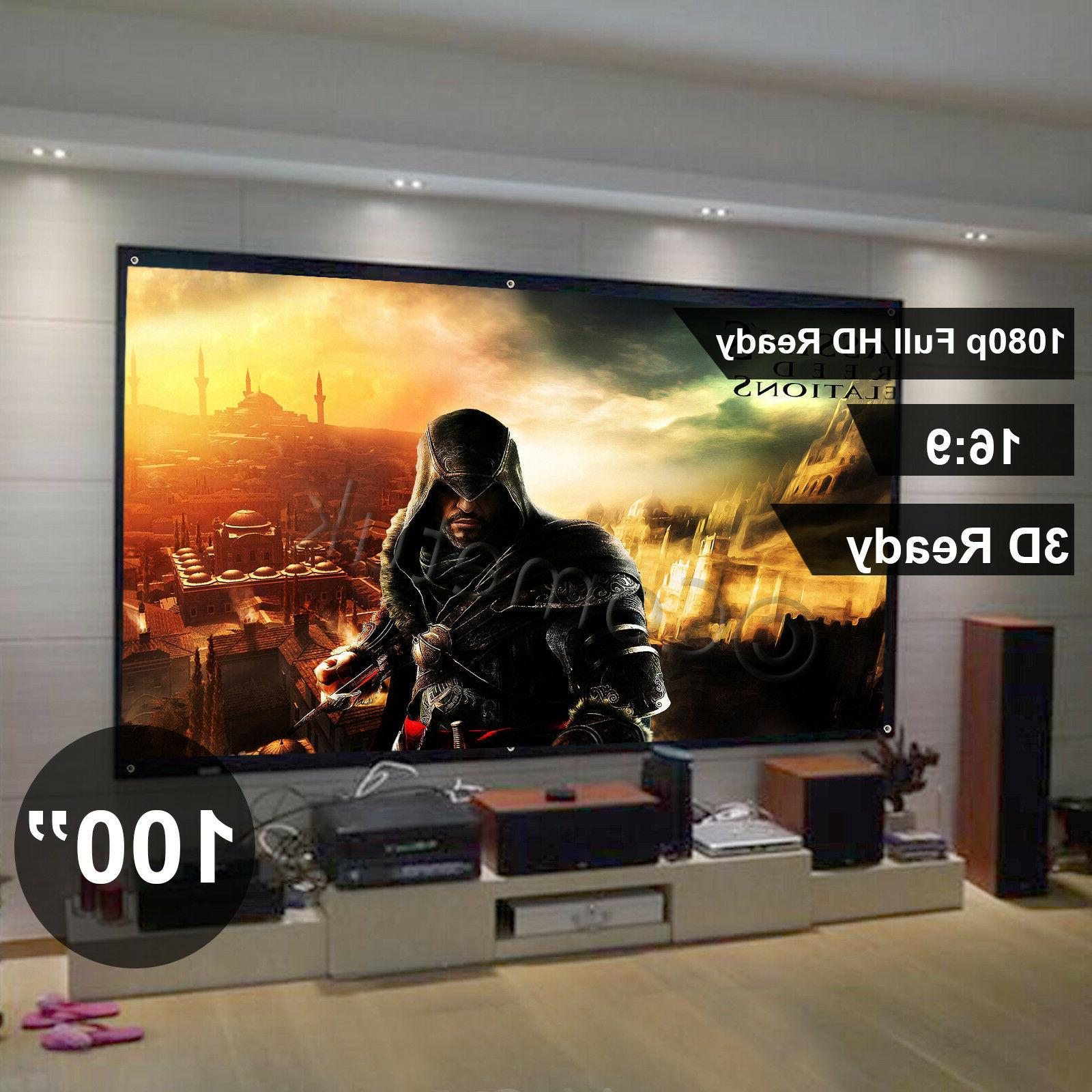 120 Inch HD 16:9 Pull Down 3D Projector Projection Screen Ho