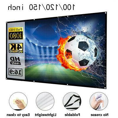 100-150in Portable Foldable Projector Screen 16:9 HD Home Th