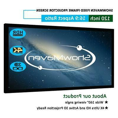 """120"""" 16:9 Fixed Frame Projector Screen Home Theatre HD 3D 4K"""