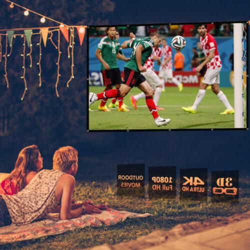 """120"""" 16:9 3D 4K Movie Portable Projector Screen Outdoor Home Theater"""