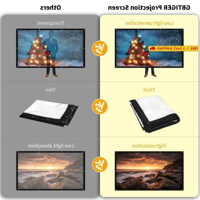 """GBTIGER 120 Projector Screen, 120"""" HD Foldable Indoor Movie"""