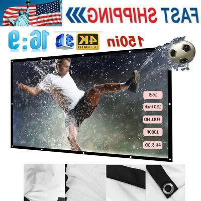 150 portable foldable projector screen 16 9