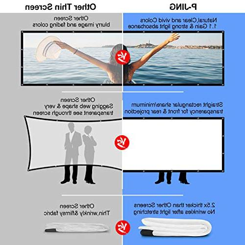 120 Inch 16:9 Projector P-JING Widescreen Foldable Outdoor Projector Screen Double