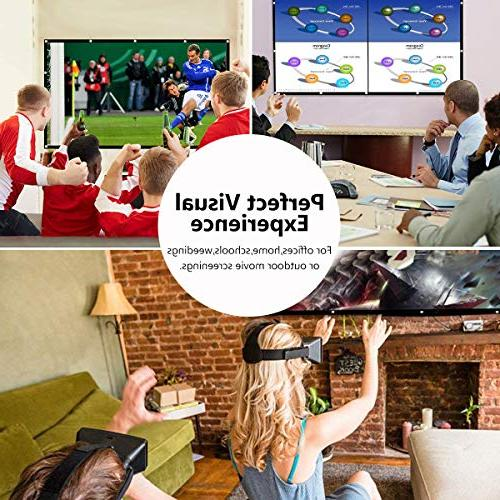 120 Inch Projector Screen, Widescreen Anti-Crease Indoor Outdoor for Support Double Sided