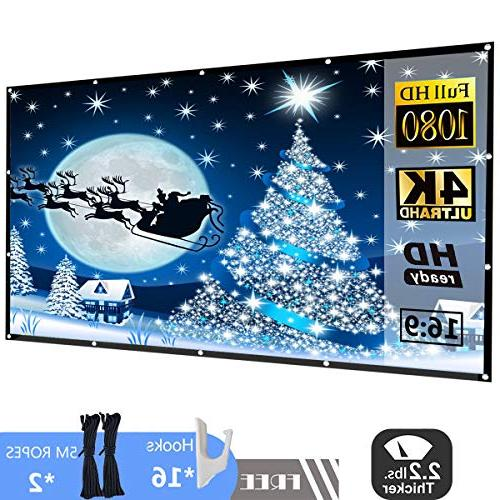 White P-JING Portable Widescreen 120 inch 120 Inch 16:9 HD Projector Screen