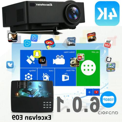 4K HD 1080P Home Theater LED Android 6.0 Wifi Projector USB