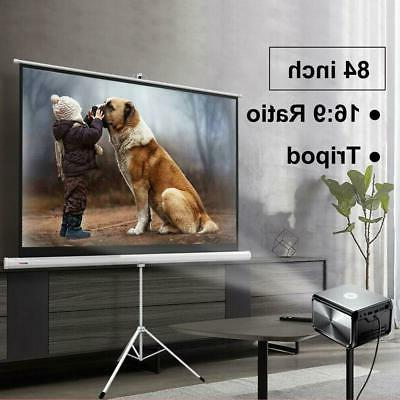 """Portable 84"""" 16:9 HD Projection Projector Screen Pull Up wit"""