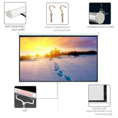Leadzm 84 Inch HD Pull Down Manual Projector Screen Projection 16:9 White