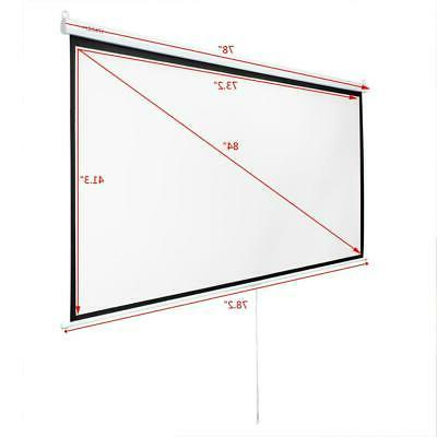 "84"" Diagonal 16:9 Projection Projector Screen HD Manual Pull"