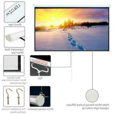 """84"""" 16:9 Projector Screen Pull Down Home HD 4K 3D Movie Conf"""