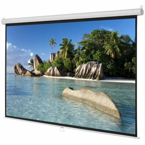 Upgraded 100inch HD Pull Down Manual Projector Screen-White