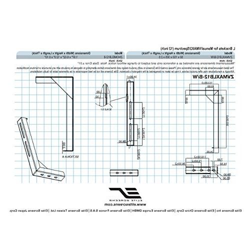 Elite Universal L-Brackets, Reinforced Single Construction, Easy for Screen Wall - Includes Hooks and Hardware, Model: