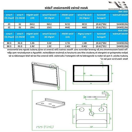 Elite 150-inch 16:9, / 4K Ultra Theater Fixed Frame EDGE FREE Screen, CineWhite Projection Screen, AR150WH2