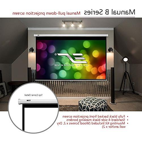 Elite Screens B, 100-INCH Manual Pull Down Projector Screen 4K / Ultra 3D with Retract Mechanism, 2-YEAR M100X