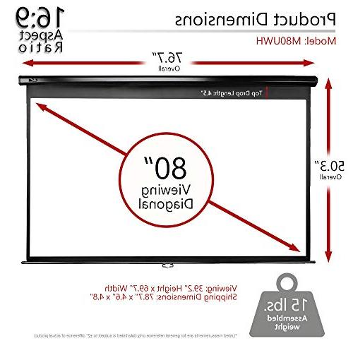 Elite Screens Manual 80-INCH 16:9, Pull Manual Projector Screen AUTO Movie Home Theater 8K / 4K Ultra 3D Ready, 2-YEAR WARRANTY, M80UWH