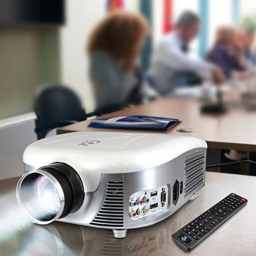Pyle Video Projector Full HD 1080p Widescreen Cinema Built-in Stereo Speaker, Adjustable Picture for TV Computer & Laptop-