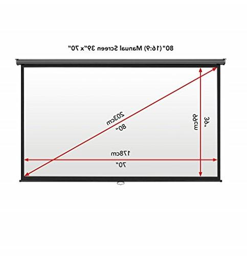 VonHaus Inch Manual Pull 16:9 HD Widescreen For Theater - HDTV, Gaming