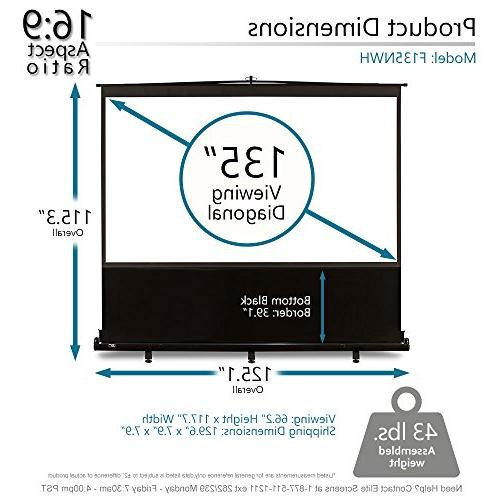 Elite Screens 135-INCH Manual Up Projector Screen, Home Theater / 4K 3D Ready, WARRANTY,