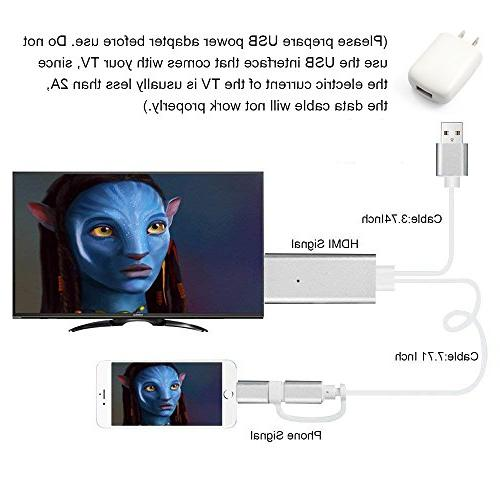 HDMI ZIKO Lighting to HDMI Adaptor USB to to TV/Projector/Monitor Adapter 1080p High IOS and