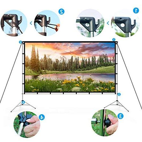 Vamvo Outdoor Indoor Projector Screen Portable Inch Full-Set Bag for Home Theater Recreational Events