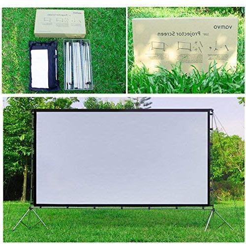 Vamvo Outdoor Indoor Projector Screen with Portable Movie 120 Inch Full-Set Bag for Home Theater Camping Recreational Events