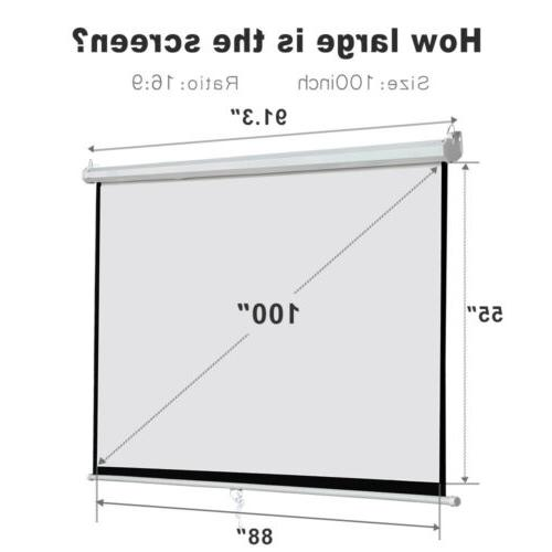 """Matte 100"""" Projection Projector Screen Home Movie"""