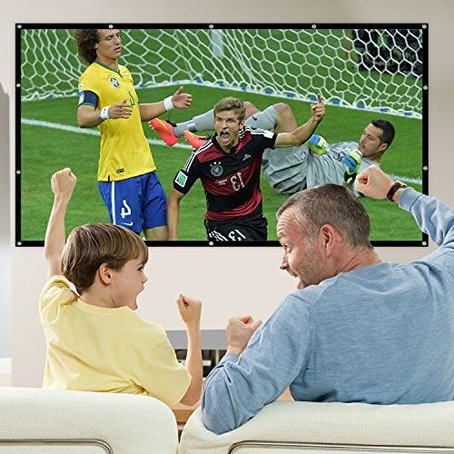 Mdbebbron 120 inch Projection Screen 16:9 Anti-Crease Portable Screen Outdoor Indoor Support Sided