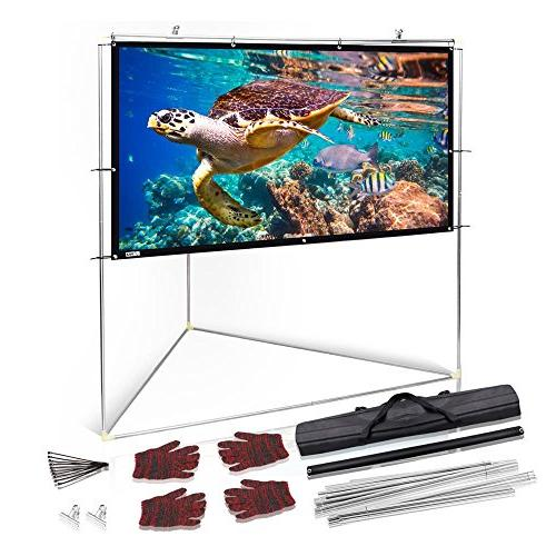 Pyle Matt White Theater TV Projector w/ Stand 100 16:9, 1.15 Gain HD Projection / / Home PRJTPOTS101
