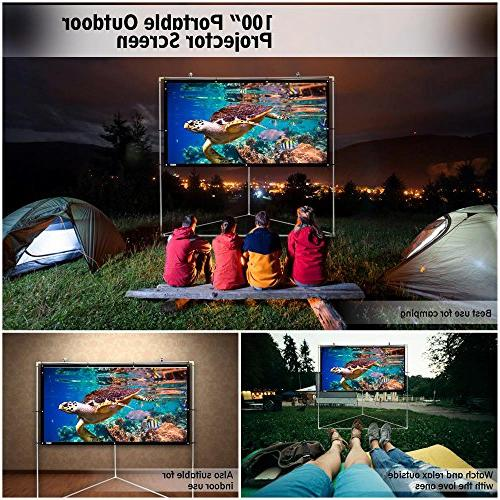 """Pyle 100"""" Outdoor Portable Matt TV Projector Screen w/ Stand - 16:9, HD Projection Movie / Cinema / / Film Showing Home -"""