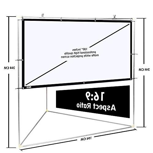 Pyle Matt Projector Screen w/ Triangle Stand 100 inch, 16:9, 1.15 HD Projection Movie / / Film Showing Home