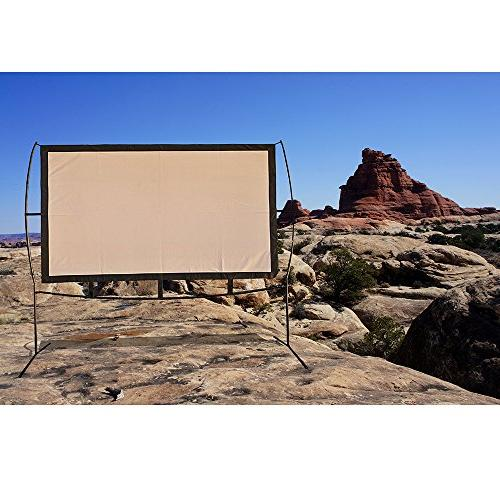 Portable Projector Stand, and Outdoor Movie Screen 16:9 with Wrinkle-Free Design