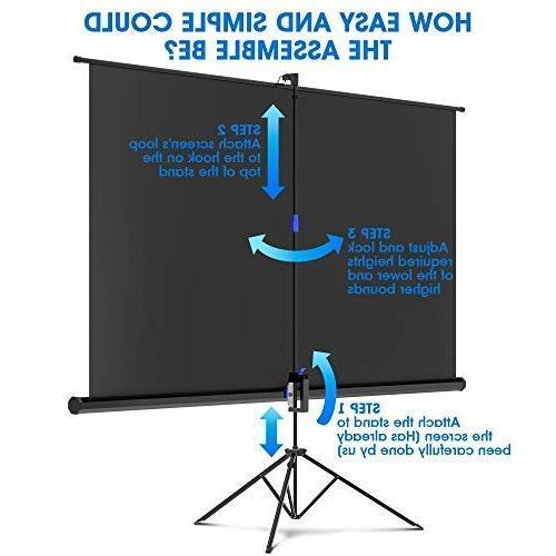 Projector Screen 100 - and for Movie Presentation Premium for with Bag and Tight