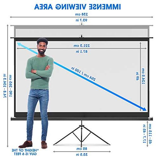 Projector Screen with 100 and for Movie Presentation 16:9 HD Premium Wrinkle-Free Tripod Screen for Bag Tight Straps