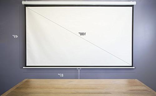 "100"" Projector Screen 16:9 Projection Down Theater VIVO"