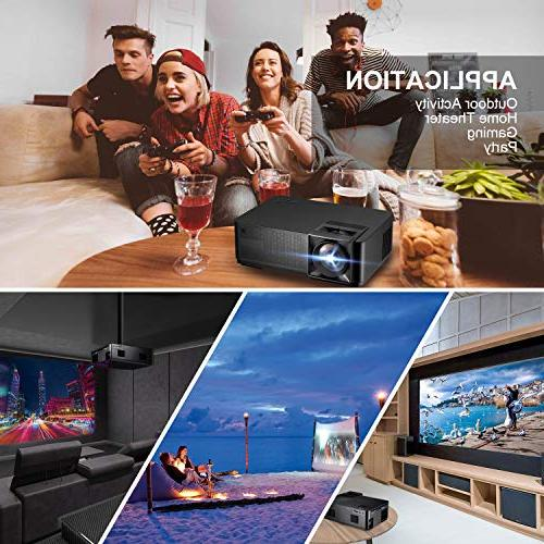 Projector , GBTIGER Lux LED Video Projector Full Home Fire HDMI, AV for Game
