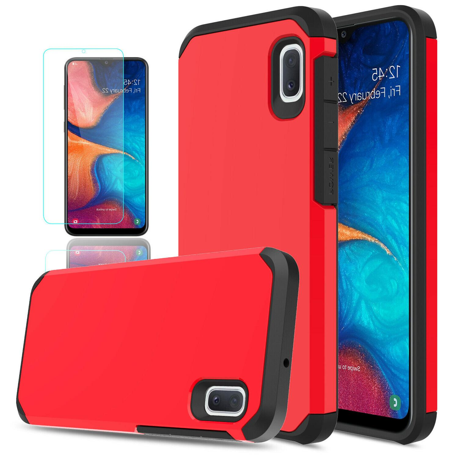 For Samsung A20 Case Armor HD Glass Screen