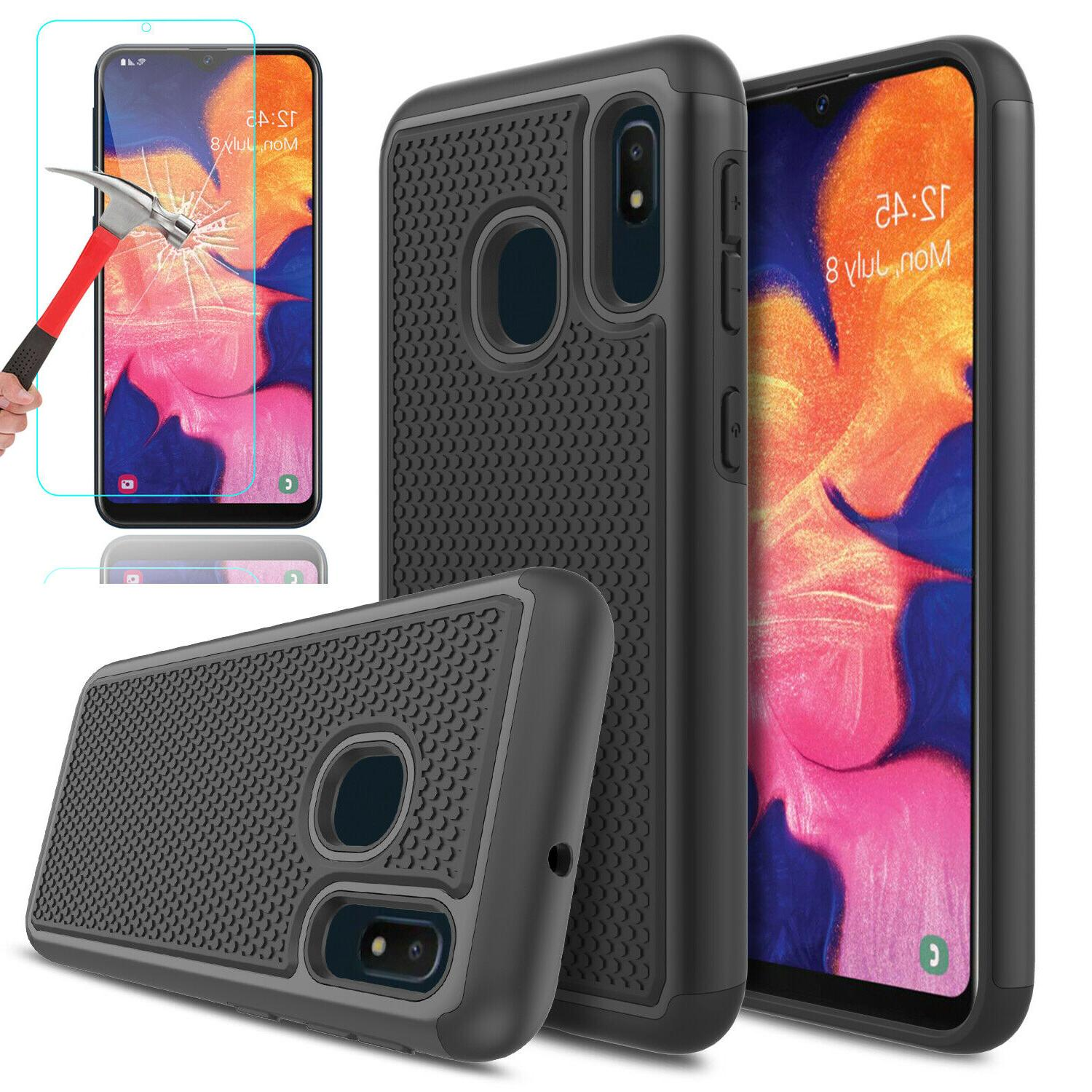 For Samsung A20 Case Shockproof Cover+Glass Screen Protector