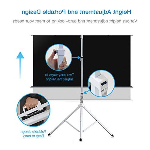 Projector Screen with 100 Inch 4:3- Adjustable Projection Premium Wrinkle-Free for Office Movie PERLESMITH