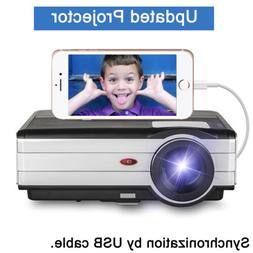 LCD HD Projector Wired Mirror Screen Home Theater Video For